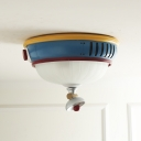 Bell Flush Mount Ceiling Light Kids Opal Matte Glass 3-Head Kindergarten Flushmount in Blue