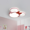 Bear Princess Flush Ceiling Light Cartoon Acrylic Girl's Bedroom LED Flush Mounted Lamp in Pink, 3 Color Light