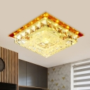 Tan Square Ceiling Flush Mount Modern Crystal LED Bedroom Flush Light Fixture in Warm/White/Natural Light