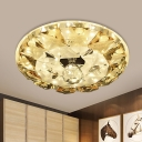 Yellow Ring Flush Ceiling Light Modern Crystal LED Hallway Flush Mount Lamp in Warm/White Light