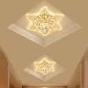 Lotus Crystal Flush Light Fixture Contemporary LED Foyer Ceiling Flush in Yellow, Warm/White/Multi Color Light