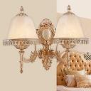 Flared Beige Glass Wall Light Classic 1/2-Bulb Living Room Wall Sconce Lighting Fixture
