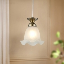 Frosted Glass Bronze/Copper Suspension Light Scalloped 1 Light Country Style Hanging Lamp Kit