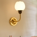 Gold Blossom Wall Lighting Ideas Rustic Milky Glass 1/2-Light Bedroom Wall Mount Light with Curved Arm