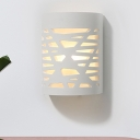 Hollowed Out Semi-Cylinder Flush Mount Nordic Plaster 1 Light White Wall Sconce Light