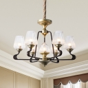 Classic Conical Chandelier Lamp 7-Head Clear Ribbed Glass Pendant Lighting Fixture with Black Twisted Arm