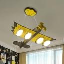 Cartoon Aircraft Pendant Chandelier Wood 4-Head Kids Bedroom Hanging Light Kit in Yellow