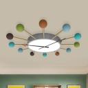 Burst Design Clock Ceiling Flush Kids Acrylic 1 Head Grey Flush Mounted Lamp for Bedroom