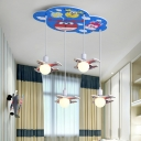 Painted Jet Cluster Pendant Cartoon MDF 4 Lights Bedroom Ceiling Suspension Lamp in Blue