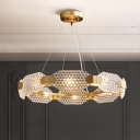 6 Heads Octagon Crystal Ceiling Chandelier Contemporary Gold Loop Living Room Hanging Light