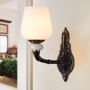 White Glass Black Finish Wall Sconce Conical 1/2-Light Retro Style Wall Mounted Lighting with Curved Arm