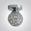 Glittering Crystal Ball and Elegant Semi-Flush Mount Ceiling Light in Chrome Finish