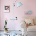 Fabric Barrel Standing Lamp Nordic 1-Bulb Pink/Yellow/Blue Stand Up Light with Storage Tray for Living Room