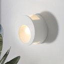 Minimalist 1-Bulb Flush Mount Wall Sconce White Round Mini Wall Mount Lighting with Plaster Shade