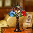 1 Light Bowl Night Table Lamp Victorian Bronze Hand Cut Glass Nightstand Lighting with Dragonfly and Floral Pattern