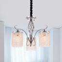 Chrome Cascade Chandelier Lighting Simple Cut Crystal 3/5 Lights Living Room Drop Pendant