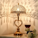 1 Light Night Table Lamp Retro Bowl Crystal Nightstand Light in Gold with Heart Design
