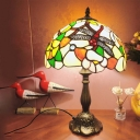 Tiffany Dome Night Light 1 Bulb Stained Art Glass Desk Lighting in Bronze with Flower and Dragonfly Pattern