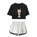 Stylish Girls Cartoon Printed Short Sleeve Round Neck Loose Cropped T Shirt & Elastic Ice-cream Pattern Contrasted Relaxed Shorts Co-ords
