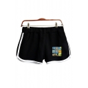Girls Casual Oil Painting Printed Contrasted Pipe Elastic Waist Relaxed Fit Shorts