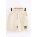 Casual Womens Japanese Letter Avocado Embroidered Partially Elasticized Waistband Rolled Edge Relaxed Shorts