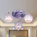 3/5 Heads Semi Flush Ceiling Light Modern Patterned Dome Shade Frosted Glass Flush Mount Fixture in Chrome