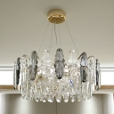 6-Light Layered Drum Shaped Hanging Lamp Contemporary Smoke Grey Crystal Chandelier Pendant Light