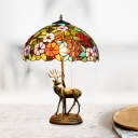 Bowl Shaped Nightstand Lamp Tiffany Style Stained Glass 2-Light Brown/Green Flower/Leaf Night Light with Resin Elk Base