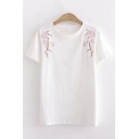 Plum Blossom Embroidered Short Sleeve Round Neck Loose Fit Trendy T Shirt for Girls