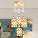 Cylindrical K9 Crystal Multi-Light Pendant Modernism 4 Heads Gold Suspension Lighting Fixture