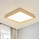 K9 Crystal Square Flush Light Minimalism Living Room LED Ceiling Flush Mount in White