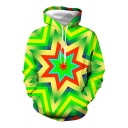 Geometric 3D Printed Long Sleeve Drawstring Pouch Pocket Relaxed Fit Fashionable Hoodie in Green