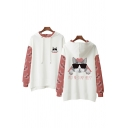 Fashionable Boys Cartoon Cat Printed Colorblock Long Sleeve Drawstring Slit Sides Relaxed Hoodie