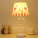 Sheep/Elephant/Fox Pattern Table Light Cartoon Plastic Single Kids Bedside Night Lamp with Scroll Arm in White