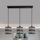 Black Rectangle Multi Pendant Light Simplicity 3 Bulbs Crystal Encrusted Down Lighting with Linear Canopy