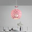 Pink Sphere Down Lighting Simple Clear Crystal 1 Light Restaurant Pendant Ceiling Light