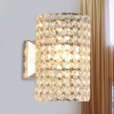 Cylindrical Clear Lattice Crystal Sconce Contemporary Single Bedroom Wall Lighting Ideas