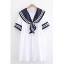 Stylish Womens Striped Short Sleeve Sailor Collar Mini Pleated Swing Dress
