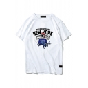 Fashionable Mens Letter New York Skull Graphic Short Sleeve Crew Neck Relaxed Fit Tee Top