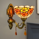 Tiffany Flower Wall Mounted Lamp Single Red/Orange/Purple Handcrafted Art Glass Sconce Lamp in Bronze