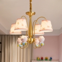 Kids Style Sheep Resin Hanging Light 4 Heads Chandelier Lamp with Ribbon-Print Fabric Shade in Pink-Gold