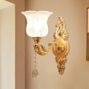 Mid Century Bell/Flower Wall Lamp Kit 1-Light Clear Glass Sconce Light with Crystal Drop in Gold