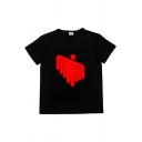 Cool Mens Cartoon Printed Short Sleeve Crew Neck Loose T Shirt in Black