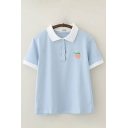 Casual Womens Peach Embroidered Contrasted Short Sleeve Turn-down Collar Button up Loose Polo Shirt