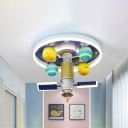 Acrylic Space Station Ceiling Fixture Kids Yellow and Blue LED Flush Mount Light