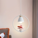 Boy/Girl/Flying Pig Pendulum Light Cartoon Resin 1 Bulb White Hanging Lamp with Ring and Bell Shade