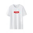 Fashionable Mens Letter J-Hope Printed Short Sleeve Crew Neck Loose T Shirt