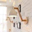 White/Black Finish Domed Wall Lighting Modern 1 Head Iron Wall Lamp Fixture with Wooden Swing Arm