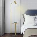 Gold Rotatable Tube Floor Light Postmodern Iron LED Spotlight with Table for Bedside