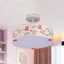 Kids Drum Flush Mount Light Fabric 3-Light Children Bedroom Semi Mount Lighting with Robot Pattern in White